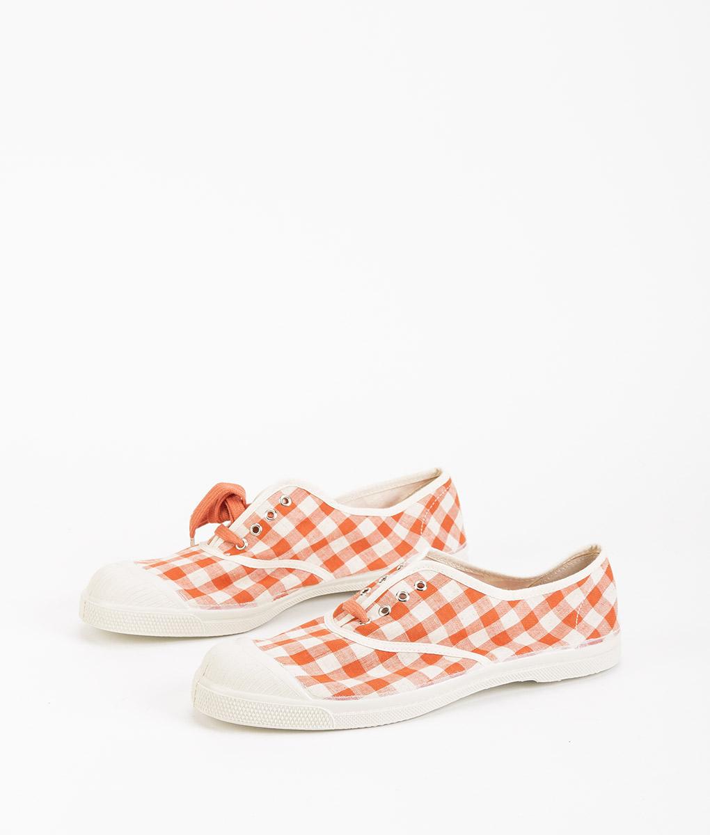 BENSIMON Women Sneakers 15004 TENNIS LACE Vichy, Coral 39.99