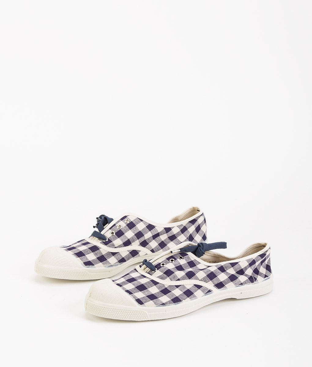 BENSIMON Women Sneakers 15004 TENNIS LACE Vichy, Navy 39.99