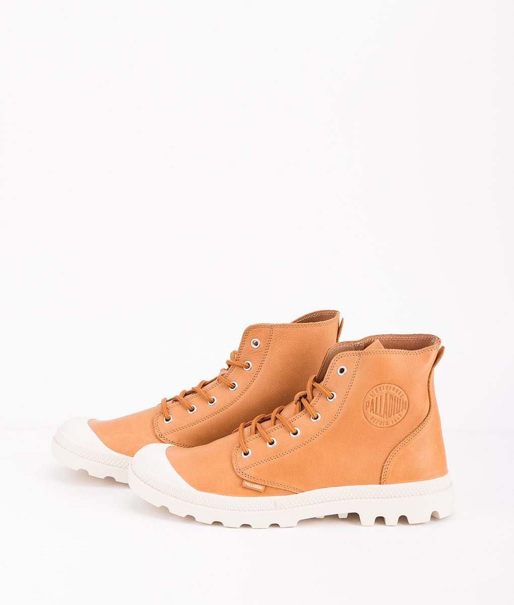 PALLADIUM Men Sneakers 75750 PAMPA HI LEATHER UL, Apricot Birch 119.99