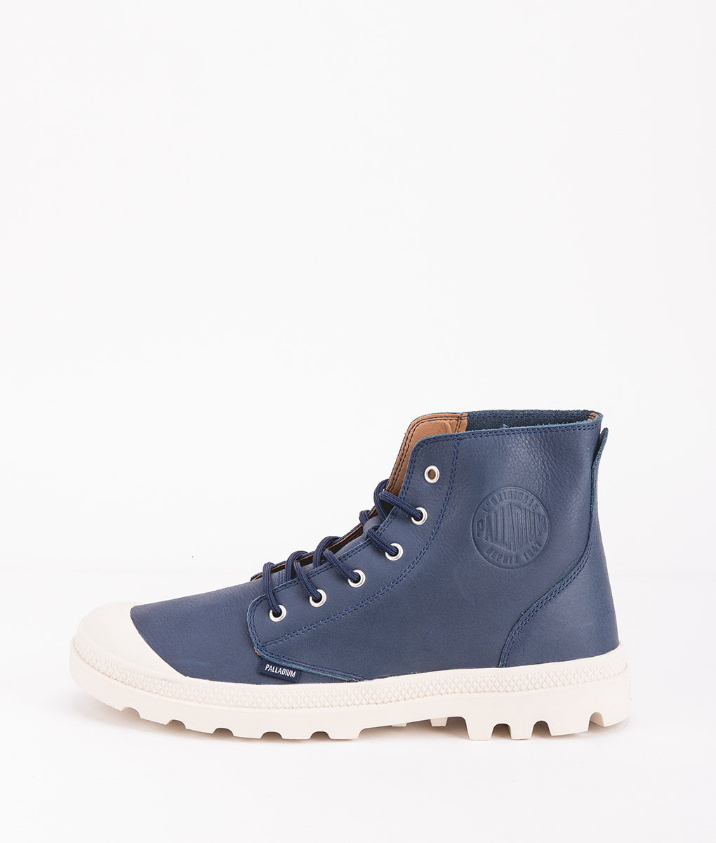 PALLADIUM Men Sneakers 75750 PAMPA HI LEATHER UL, Dress Blue Birch 119.99
