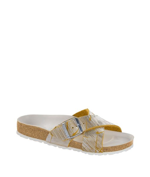 BIRKENSTOCK Women Flip Flops 1012952 SIENA NU, Metallic Cuts Lemon 99.99