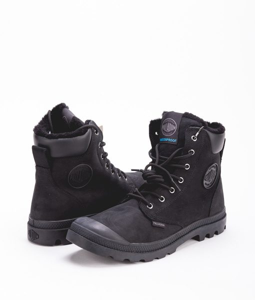 PALLADIUM Unisex Sneakers 72992 PAMPA SPORT CUFF WPS LEATHER, Black Black 159.99 1