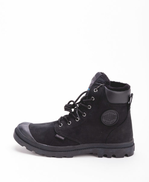 PALLADIUM Unisex Sneakers 72992 PAMPA SPORT CUFF WPS LEATHER, Black Black 159.99