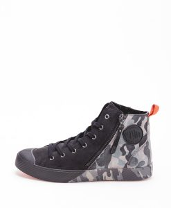PALLADIUM Unisex Sneakers 75949 PALLAPHOENIX Z CAMO LEATHER, Black Dk Gull 124.99