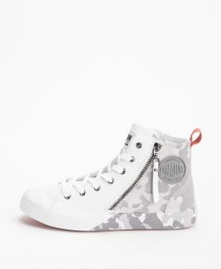PALLADIUM Unisex Sneakers 75949 PALLAPHOENIX Z CAMO LEATHER, White Micro Chip 124.99