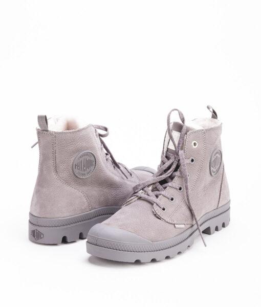 PALLADIUM Women Sneakers 96102 PAMPA HI S ZIP LEATHER, Cloudburst Charcoal Grey 119.99 1