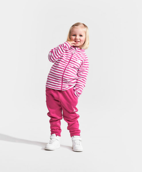 DIDRIKSONS Kids Microfleece Jacket 502674 MONTE PRINTED, Plastic Pink Simple Stripe